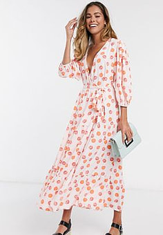Glamorous midaxi dress with wrap front and tiered skirt in grapefruit print-Pink