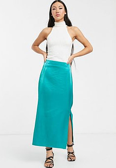 Glamorous midaxi skirt in textured satin-Green