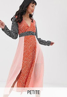 Glamorous midaxi dress with front splits in mix and match print-Multi