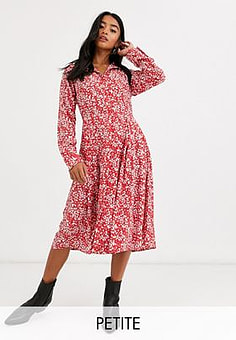 Glamorous midi shift dress with pleated skirt in vintage floral-Red