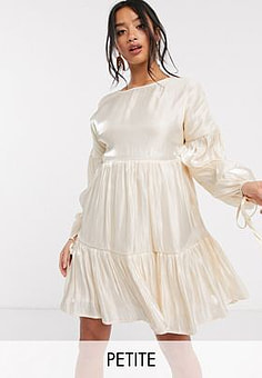 Glamorous tiered mini smock dress with tie cuffs in satin-White