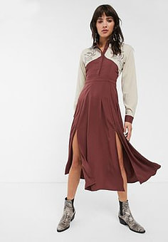 Glamorous premium maxi shirt dress with western details-Red