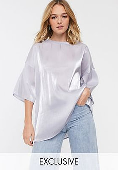 Glamorous relaxed top in soft organza-Grey
