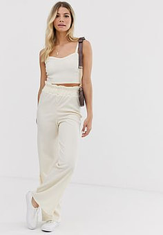 Glamorous relaxed wide leg trousers in fine knit co-ord-Cream
