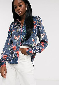 Glamorous shirt with piping detail in floral print-Multi