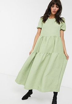 Glamorous tiered maxi smock dress in quilted fabric-Green