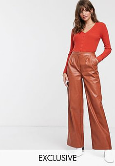 Glamorous wide leg trousers in soft faux leather-Brown