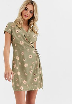 Glamorous wrap front tea dress in floral-Multi