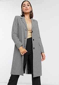 Helene Berman tailored coat in mono check-Multi