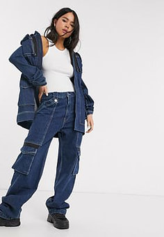 House Of Holland utility denim jeans co-ord-Blue
