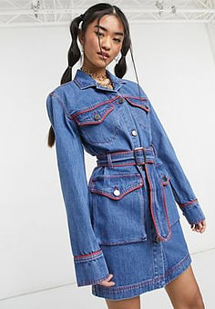 House Of Holland western denim mini dress in blue