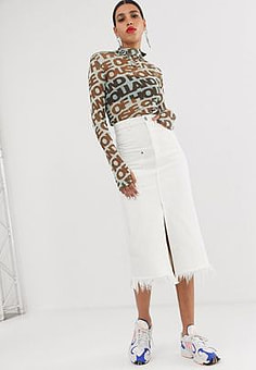 House Of Holland white denim midi skirt