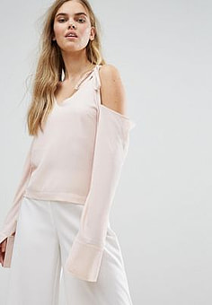 House of Sunny Cold Shoulder Top With Tie Details-Pink
