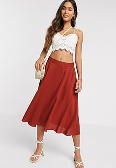 Ichi bias cut midi skirt-Red