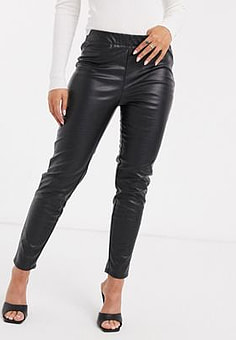 Ichi eleasticated skinny faux leather trousers-Black