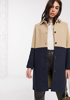 Ichi panelled longline coat in camel and navy-Multi
