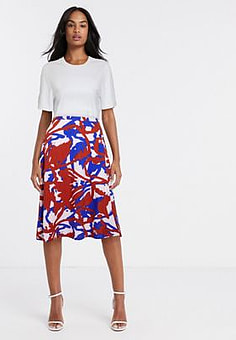 Ichi printed bias cut midi skirt-Multi
