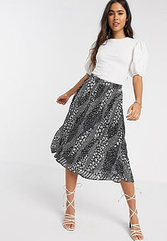 Ichi printed midi skirt-Multi