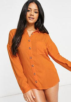 Influence cheesecloth beach shirt dress in orange