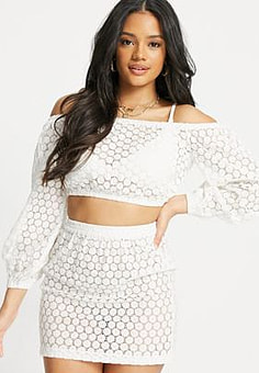 Influence crochet bardot beach top-White