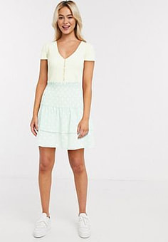 Influence shirred polka dot mini tiered skater skirt in mint co-ord-Green