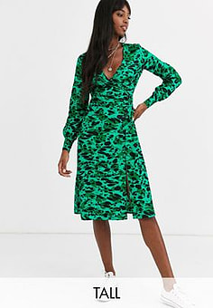Influence button detail midi dress in green abstract leopard print