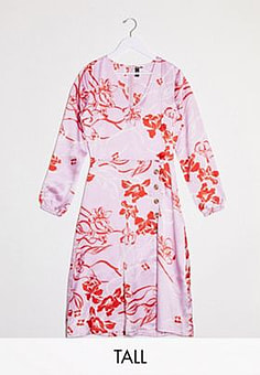 Influence button front midi dress in pink floral