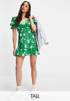 Influence mini dress in green shadow floral print