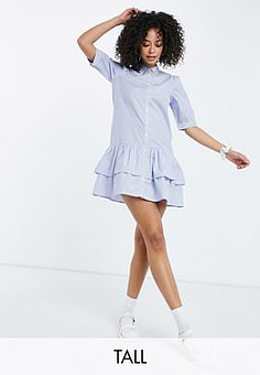 Influence mini shirt dress in blue and white stripe