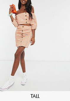 Influence mini skirt with button detail in gingham co-ord-Orange