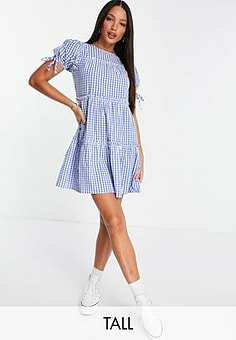 Influence tiered gingham mini dress in blue