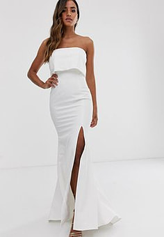 Jarlo bandeau overlay maxi dress in ivory-White