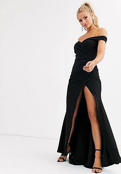 Jarlo bardot maxi dress with sweetheart plunge in black