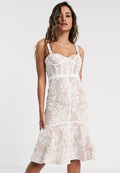 Jarlo lace midi dress with corset detail in ivory-White