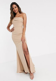 Jarlo pleated one shoulder maxi dress in taupe-Brown