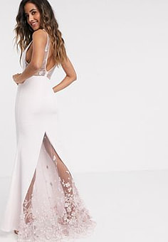 Jarlo plunge fishtail maxi with 3d floral in ecru-Cream
