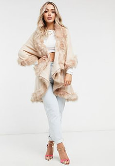 Jayley double layer faux fur trim cape in blush pink