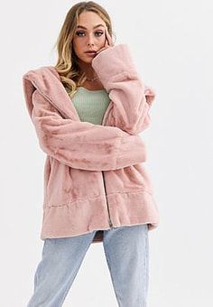 Jayley faux fur hooded jacket with drawstring waist-Pink