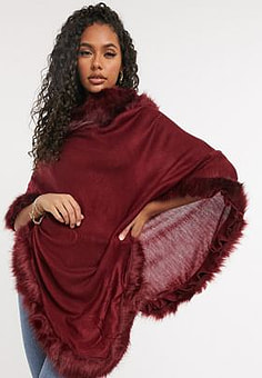 Jayley faux fur trim poncho in red