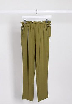 JDY bahati high waisted slim fit trousers in olive-Green