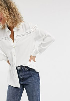 JDY cotton shirt with lace insert in white