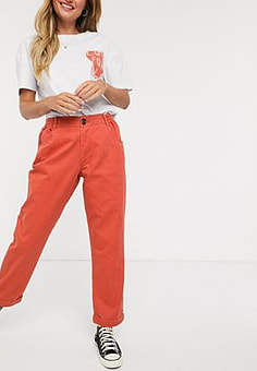 JDY cotton trouser with elastic waist in red
