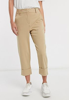 JDY cropped trousers with deep turn up in tan-Brown