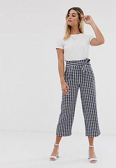 JDY culotte trousers with tie waist in houndstooth-Multi