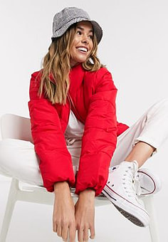 JDY Erica funnel neck padded jacket in red