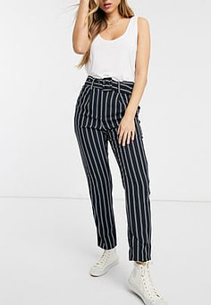 JDY Indianna high waisted stripe trousers-Navy