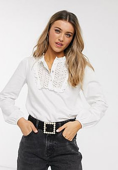 JDY Rhoades long sleeve frill white shirt