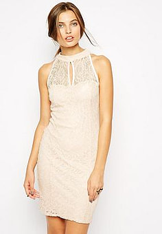 Jessica Wright High Neck Lace Dress-Pink