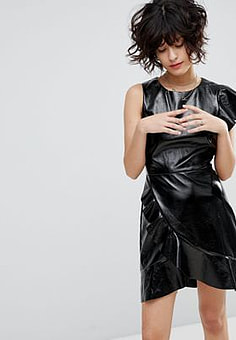 J.O.A Mini Dress With Statement Ruffle In High Shine Faux Leather-Black