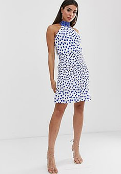 John Zack mini skirt with shirring in blue contrast polka-Multi